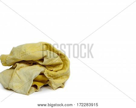 a ball of Chamois yellow soft leather on white background