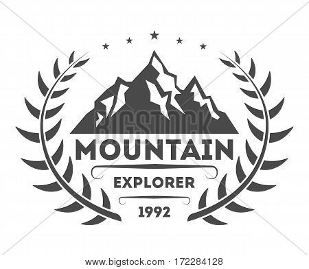 Mountain explorer vintage isolated label vector illustration. Mountain expeditions icon. Wild life concept. Adventure outdoor resort and hiking logo. Mountain logo vector template