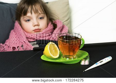 The child got sick fever cough runny nose flu