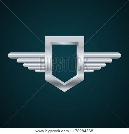 Logo Wings Chrome Metall Label Eps 10 Vector