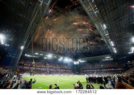 MOSCOW, RUSSIA - SEP 9, 2016: Fireworks at opening new CSKA Arena sports complex during match between CSKA and Terek soccer teams.