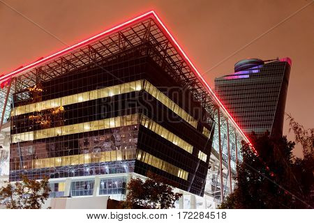 MOSCOW, RUSSIA - SEP 9, 2016: Buildings of new CSKA Arena sports complex, including children sport school, club museum, a hotel,office building, restaurants and medical center.