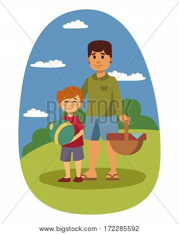 Picnic setting with fresh food hamper basket barbecue resting couple and summer meal party family people lunch garden character vector illustration. Cooking outdoor healthy lifestyle time.