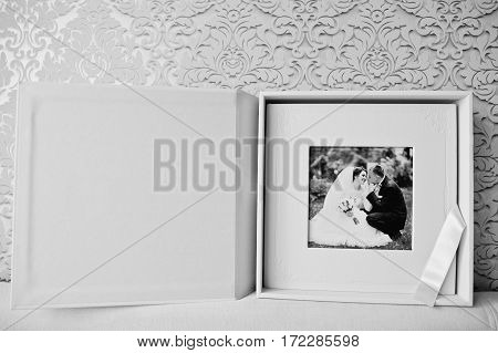 Luxury white classic leather wedding book black and white