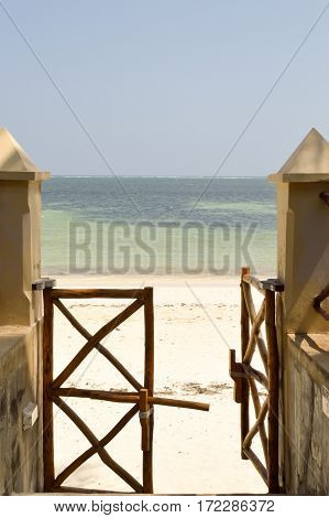 Access portico to the beach of Bamburi in Kenya