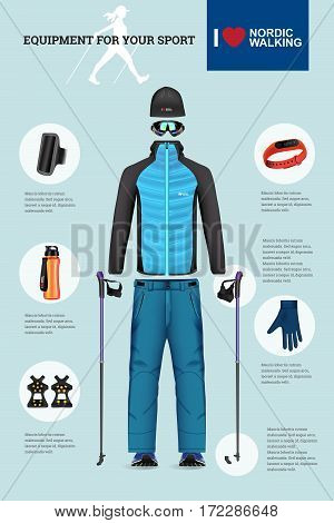 Vector illustration of set with Nordic Walking equipment. Realistic illustration of winter sport accessories and clothes for men.