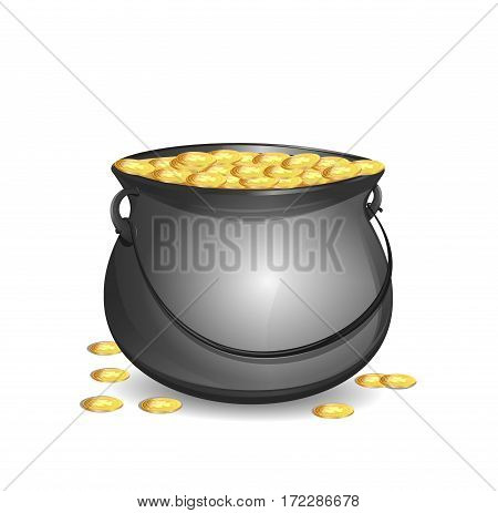 Pot of gold. Big mythical pot with full gold coins. Money in cauldron. Vector design element to St. Patrick's Day