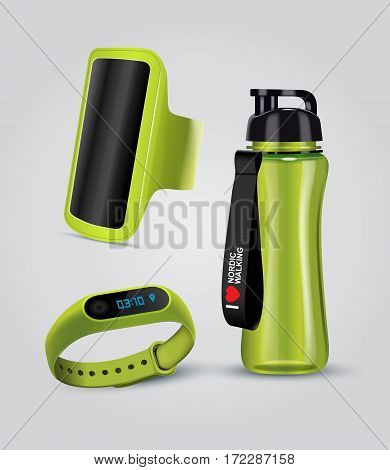 Vector illustration of sport accessories. Realistic illustration of sport holder for smartphone fitness Smart Watch and water bottle.