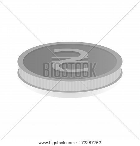 Vector illustration of a silver coin with the symbol of the hryvnia.