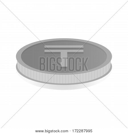 Vector illustration of a silver coin with symbol of tenge.
