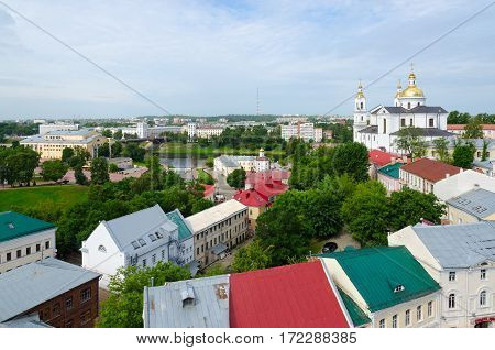 Top view of Holy Assumption Cathedral Western Dvina River Kirovsky Bridge Drama Theatre Vitebsk Belarus