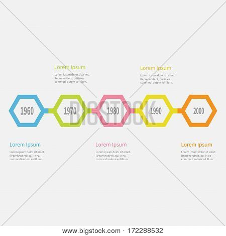 Five step Timeline Infographic. Colorful polygon line segment. Template. Flat design. White background. Isolated. Vector illustration