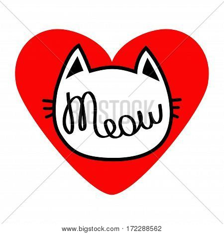 Cat head silhouette shape. Meow lettering text. Love card. Cute cartoon character. Big red heart. Kawaii animal. Baby pet collection. Sign Symbol. Flat design style. White background. Isolated. Vector