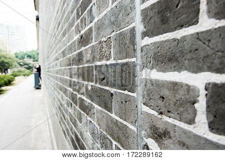 Perspective grunge brick wallTexture background outdoor wall