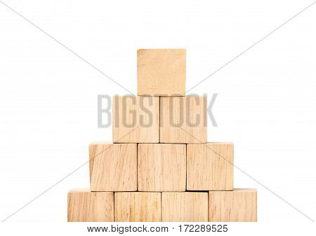 Close Up At Wood Cube Arrange In Pyramid Shape ,business Concpt Mock Up