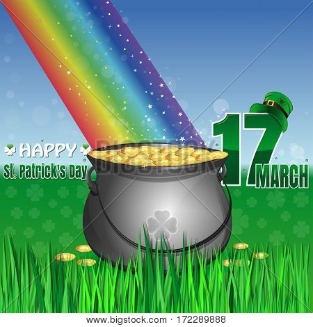 Magic leprechaun pot of gold at the base of the rainbow. Cauldron full of gold coins on the lawn in the green grass. March 17. leprechaun hat. Happy St. Patrick's Day. Vector greeting card