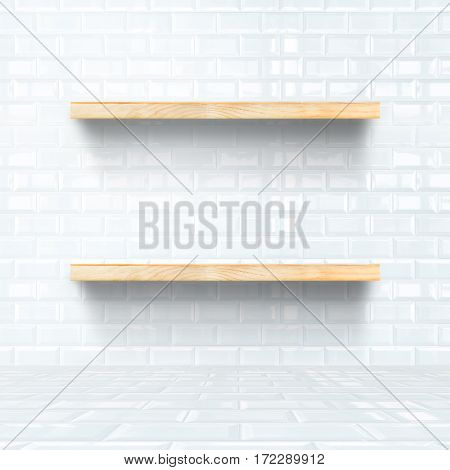 White Tile Room With Wooden Shelf, Mock Up For Display Of Product