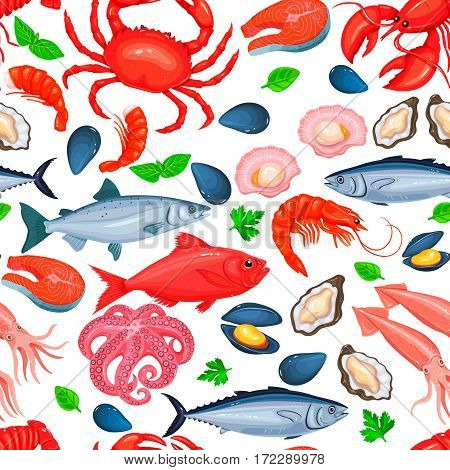 Healthy food seamless pattern. Vector seafood product design.