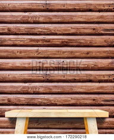 Empty Wooden Table Top At Red Brown Log Wood Wall,template Mock Up For Display Of Your Product