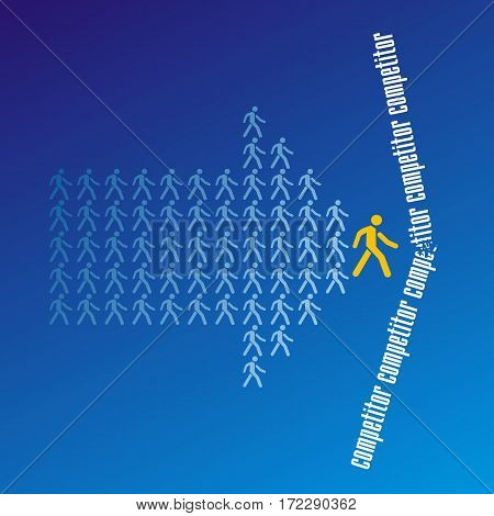 The crowd of workers follows the leader of the team overcoming competitor