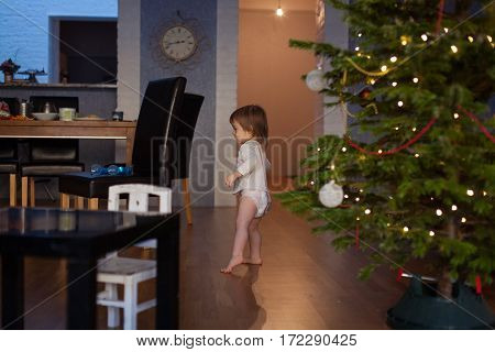 Funny Little Smiling Kid Boy Holding Christmas Tree