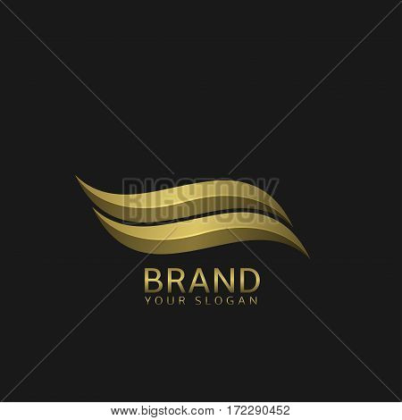 Golden Wave logo template. Watersport sign, yacht club emblem