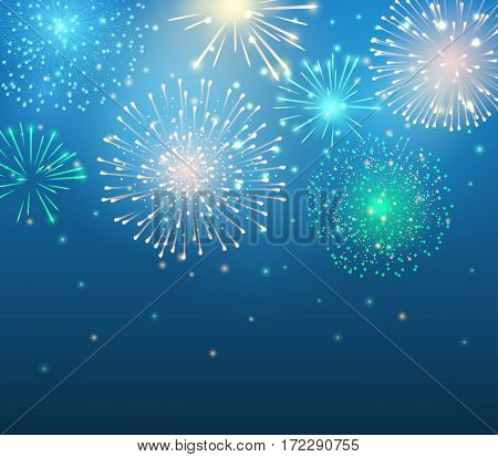Vector holiday colorful fireworks on the blue background. Sparkle lights for design festive posters and banners. File contains clipping mask.