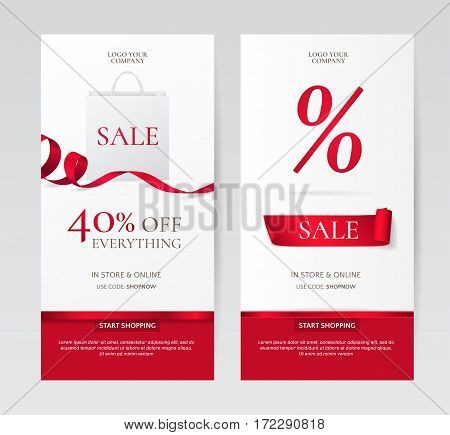 Set of elegant vertical banners with paper shopping bag and red ribbons. Vector templates for discounts offers on the website. Isolated from the background.