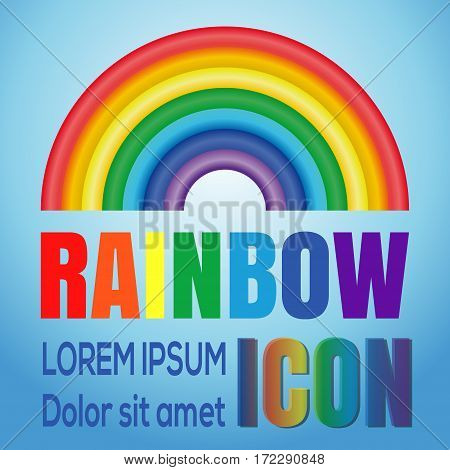 Rainbow. Rainbow logo element.Rainbow vector icon. Image of the rainbow against a blue sky. Seven colors of the rainbow. Vector icon of rainbow curve consisting of seven colors