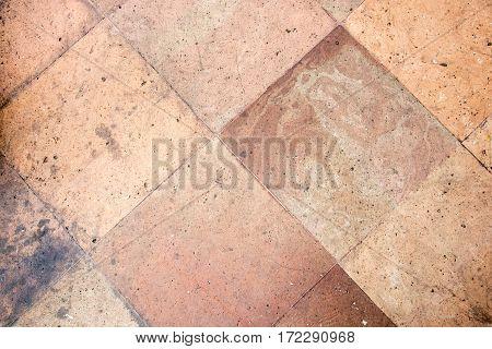 orange stone block pavement texture background.outdoor floor