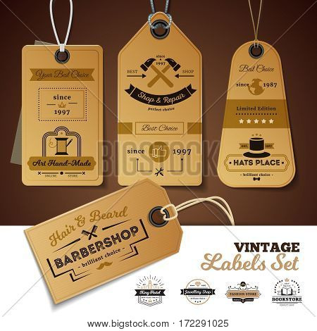 Set of vintage labels of shops with design of 3d cardboard tags with rope isolated vector illustration