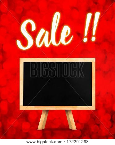 Sale word with Blackboard on easel at red sparkling bokeh light backgroundMock up for adding your sale price on blank blackboard.