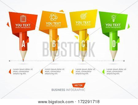 Business Infographic Pencil Banner Card Time Line for Process Project. Vector illustration