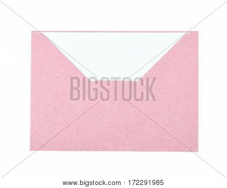 Pink paper envelope isolated over the white background
