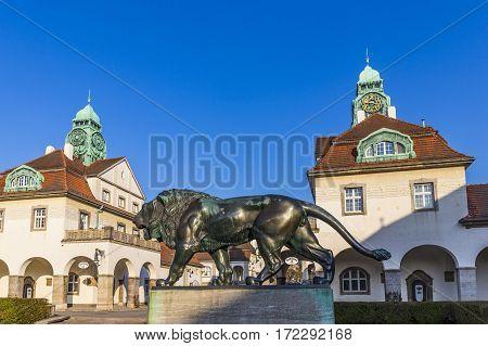 Famous Art Nouveau Lion Statue At Sprudelhof In Bad Nauheim