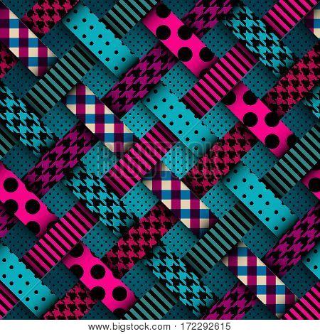 Seamless background pattern. Sea green retro interweaving patchwork
