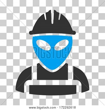 Alien Worker vector pictogram. Illustration style is flat iconic bicolor blue and gray symbol on a transparent background.