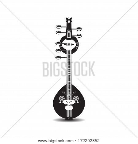 Vector illustration of saraswati veena isolated on white background. Black and white indian saraswati guitar string plucked musical instrument.