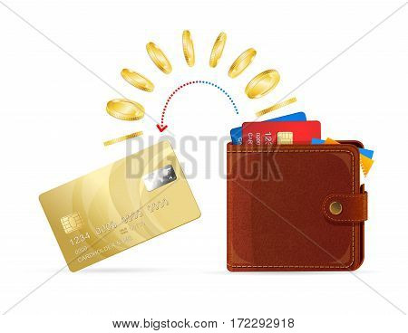 Realistic Leather Wallet to Plastic Card Money Transfer Business Concept. Vector illustration