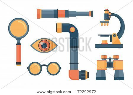 Spyglass brass handheld telescope on white background. Magnification observe vision old ancient retro equipment. Navigation binoculars antique cartoon vector.