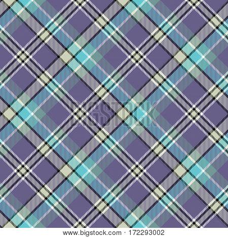 Blue cold color tartan seamless fabric texture. Vector illustration.