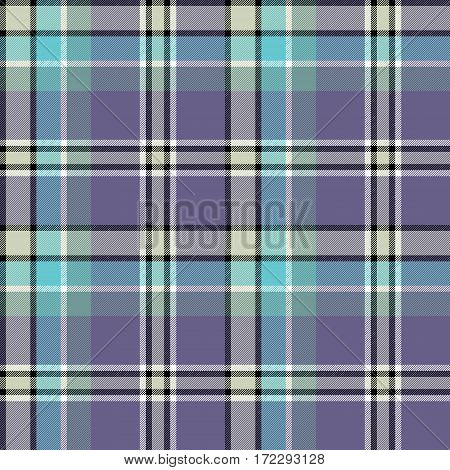 Blue gray colors check fabric texture seamless pattern. Vector illustration.