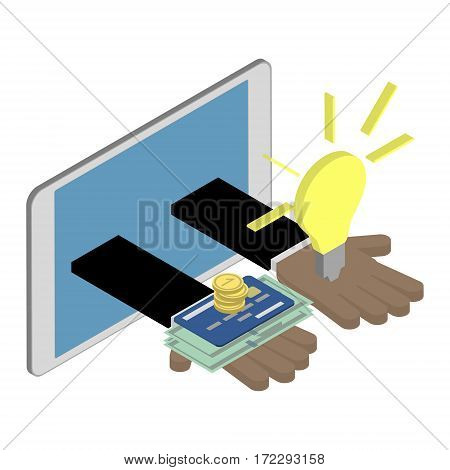 Business investment concept. African American hands giving ideas and money. Isometric vector illustration