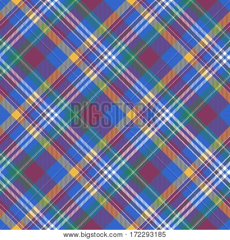 Blue pink check diagonal plaid madras seamless fabric texture. Vector illustration.