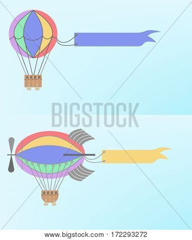 Advertising blimp airship set. Vector cartoon style background