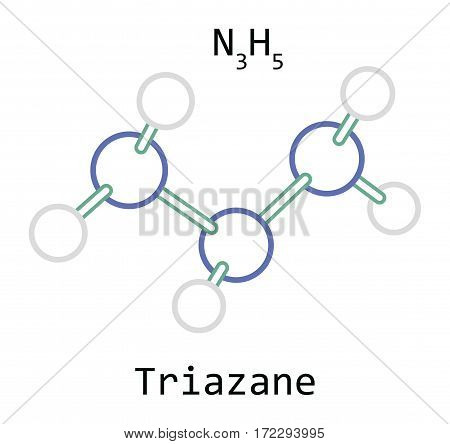 molecule N3H5 Triazane isolated on white in vector
