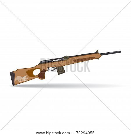 Vector illustration of hunting rifle isolated on white background. Sporting gun flat style design.