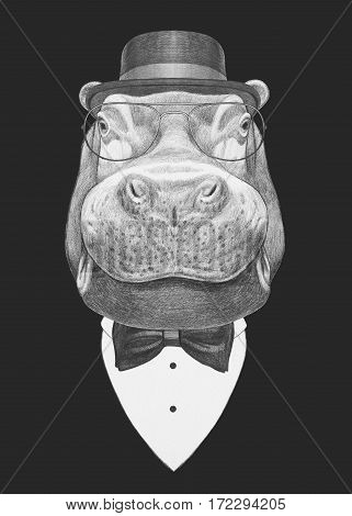 Portrait of Hippo in suit. Hand drawn illustration.