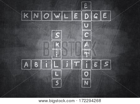 Business concept with crossword drawn on blackboard