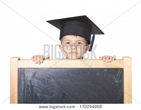 Boy Leaning On Blackboard